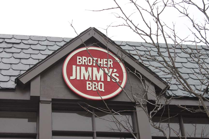 bROTHER Jimmys BBQ carved sign