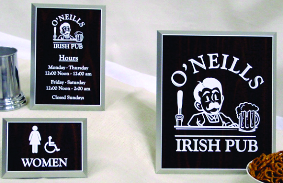O neills Laser Engraved Signs
