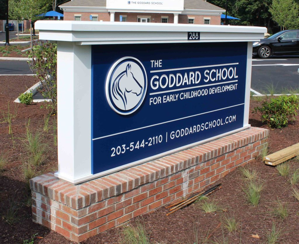 Goddard School carved lettering