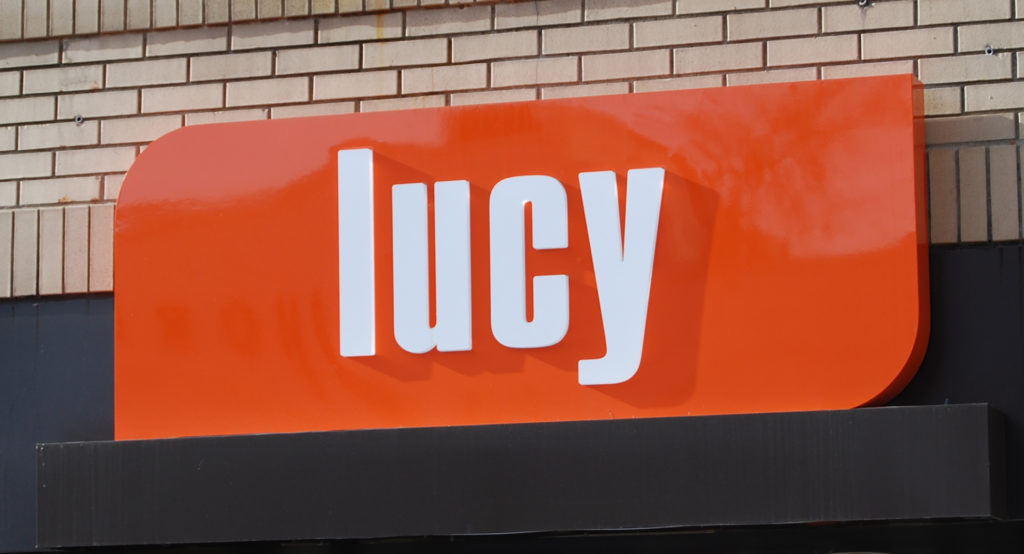 lucyIlluminated sign