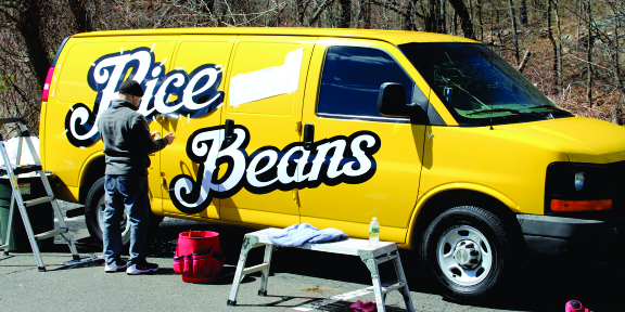 rice and beans van vehicle lettering
