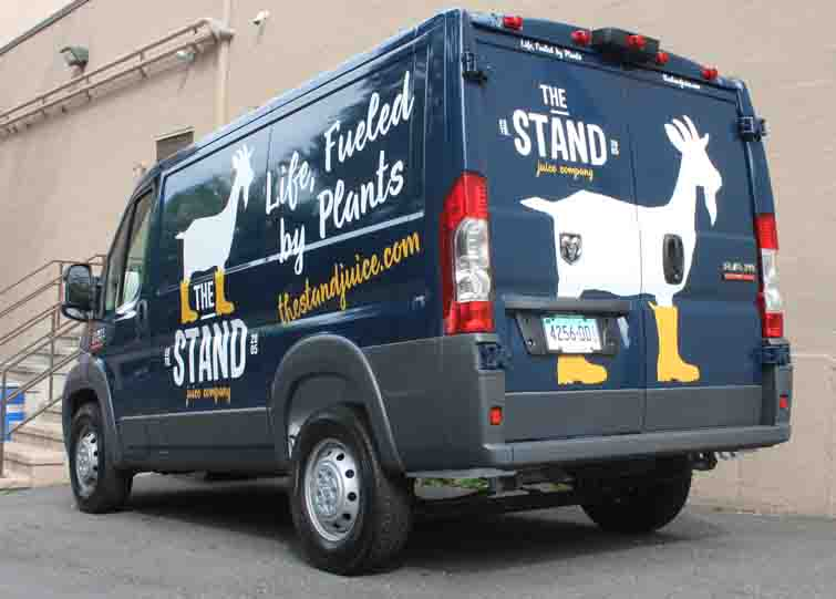 the stand van vehicle lettering