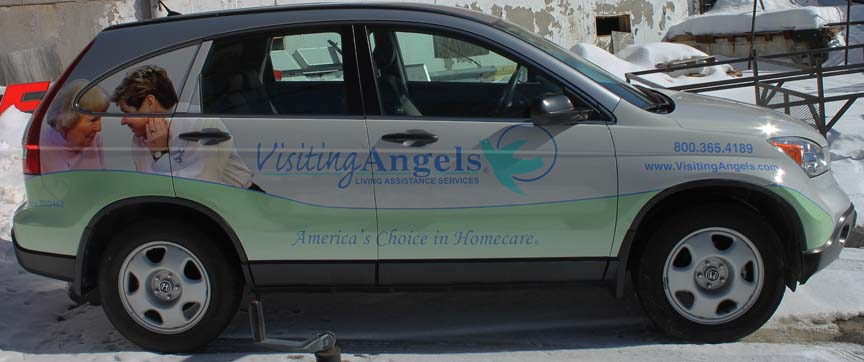 visiting angels van vehicle lettering