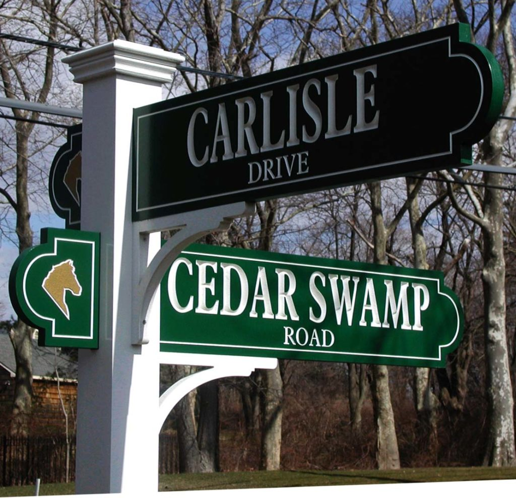 Carlisle and Cedar Swamp post and panel sign