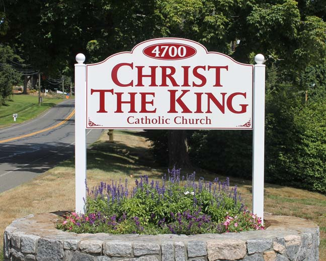 christ king post and panel sign