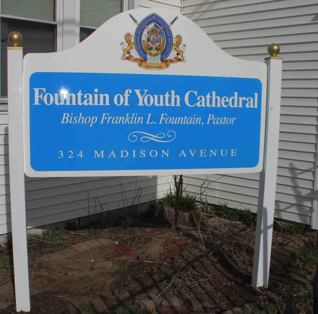 fountain church post and panel sign