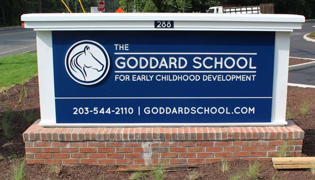 Goddard School carved