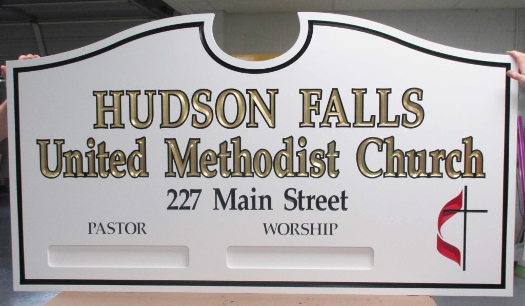 hudson church carved sign
