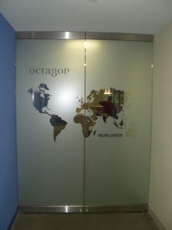 octagon doors window lettering