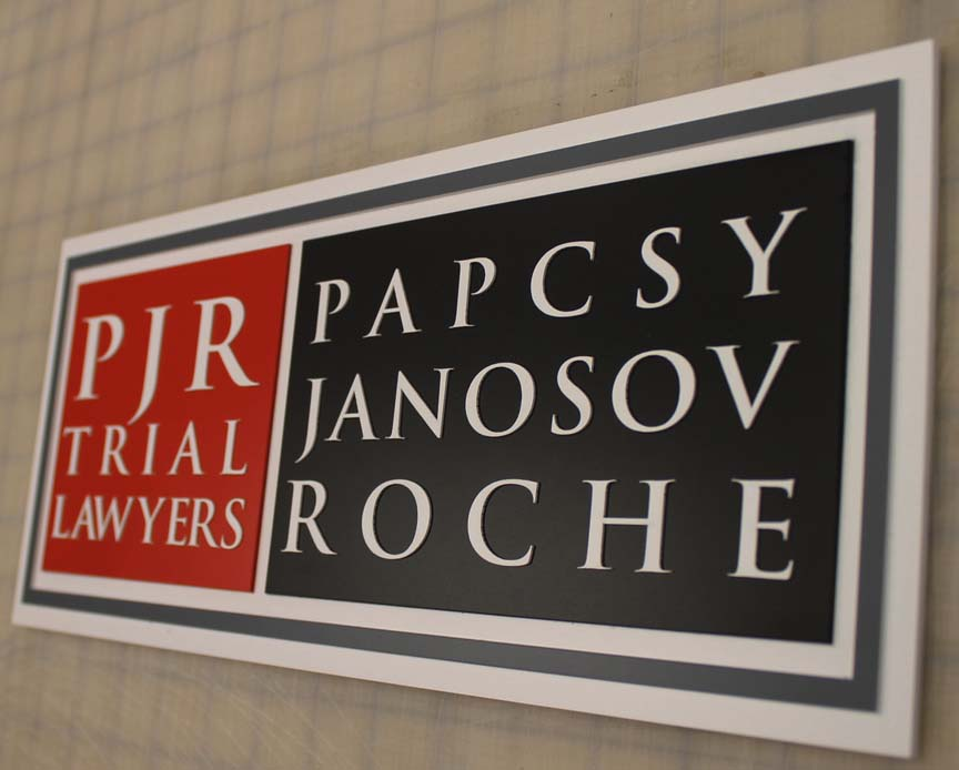 PJR trials lawyers office sign