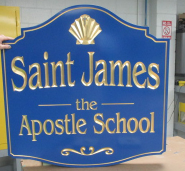 st james carved sign