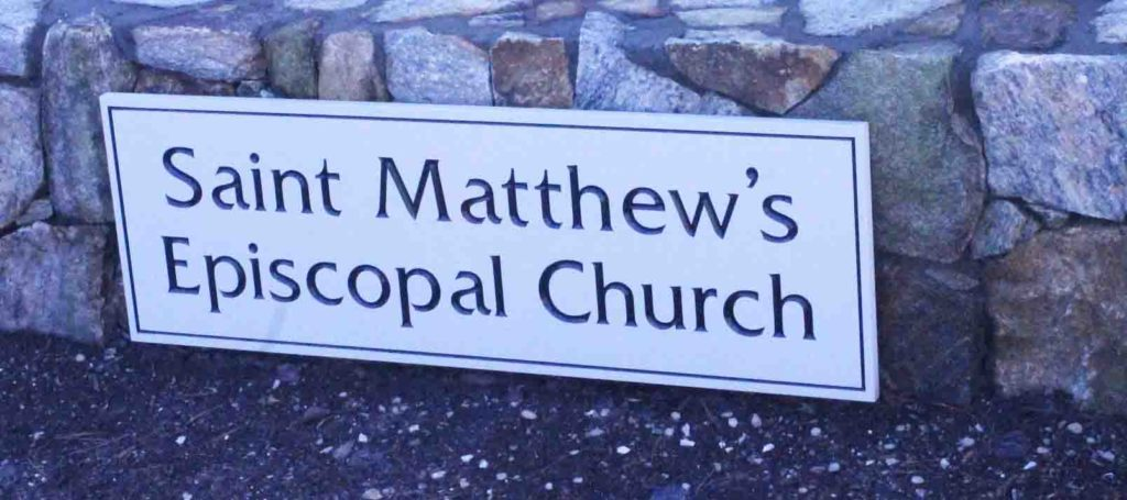 st matts church carved sign