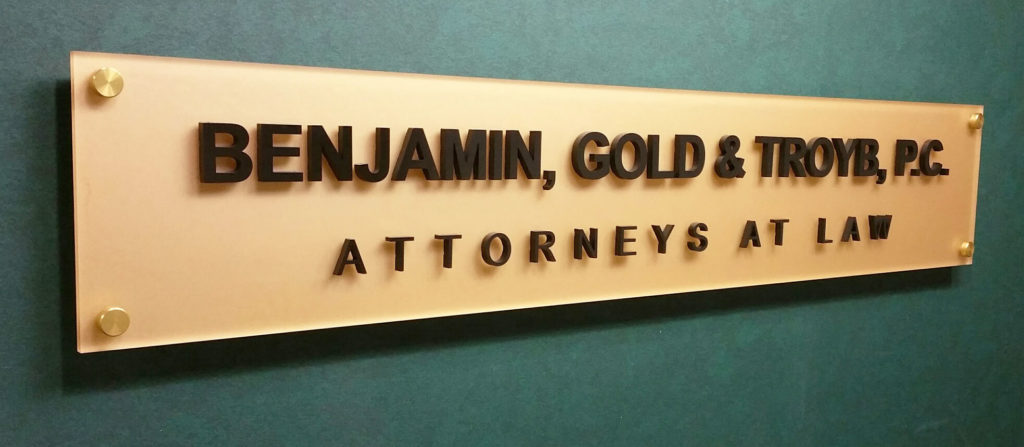 Benjamin, Gold and Troy Office sign